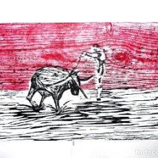 Arte: GRABADO XILOGRAFÍA DE TORO Y TORERO, ARTE TAURINO, TAUROMAQUIA, TOROS. . Lote 112927831