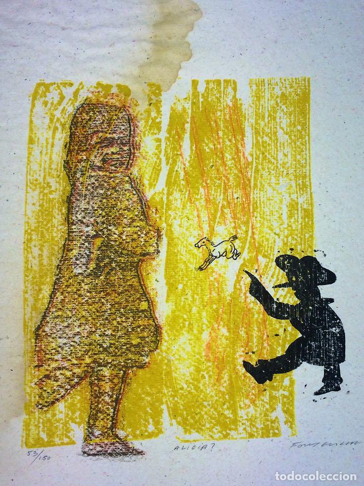 ALICIA?. XILOGRAFÍA A COLOR. 53/150. FIRMADO ERNESTO FONTECILLA. ESPAÑA. 1976 (Arte - Xilografía)