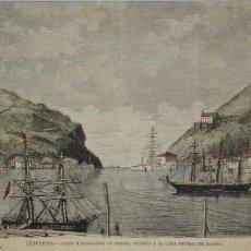 Arte: VISTA DEL SIGLO XIX DEL PUERTO DE PASAJES EN GUIPUZCOA, CERCA DE SAN SEBASTIÁN. Lote 115565579