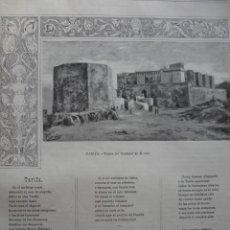 Arte: TARIFA CADIZ GRABADO Y POEMA DE SAENZ DE URRACA AÑO 1891. Lote 115569247
