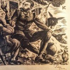 Arte: XILOGRAFÍA ORIGINAL EN PROVA D'AASAIG DE ENRIC C RICART. CHARLA ENTRE DON QUIJOTE Y SANCHO. Lote 120298807