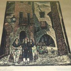 Arte: ORIGINAL Y PRECIOSA XILOGRAFIA DEL FAMOSO JOAN CASTELLS I MARTI.AÑOS 1950.REPRESENTA A MALLORCA.. Lote 121458435