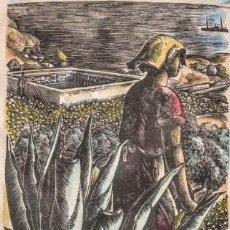 Arte: XILOGRAFÍA DE ENRIC C RICART. VENDIMIADORA. 1936. FIRMADA. Lote 122113371