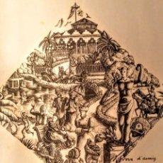 Arte: XILOGRAFÍA ORIGINAL DE ENRIC C RICART. PARC1890/PARQUE 1890 (ESTATUA DE MERCURIO). 1934.. Lote 122118055