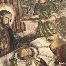 Arte: XILOGRAFIA ORIGINAL COLOREADA DE ENRIC C RICART. LA BENDICIÓN DEL PAN. 1950. Lote 122128023
