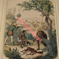 Arte: PRECIOSA XILOGRAFIA DE 1852,UNA CACERIA, 200X265MM. Lote 124005667