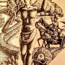 Arte: XILOGRAFÍA ORIGINAL DE ENRIC C RICART NIN DE 1934 UN PARQUE DEL 1800 CON LA ESTATUA DE MERCURIO. Lote 128127927