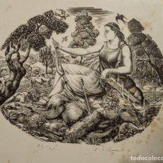 Arte: EXTRAORDINARIA XILOGRAFÍA ORIGINAL DE E. C. RICART. DIANA CAZADORA DE 1939. FIRMADA. ENMARCADA. Lote 128031047