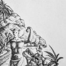 Arte: XILOGRAFÍA ORIGINAL DE E. C. RICART DE 1934 EL PARQUE DE 1890 CON LA ESTATUA DE MERCURIO. Lote 132535510