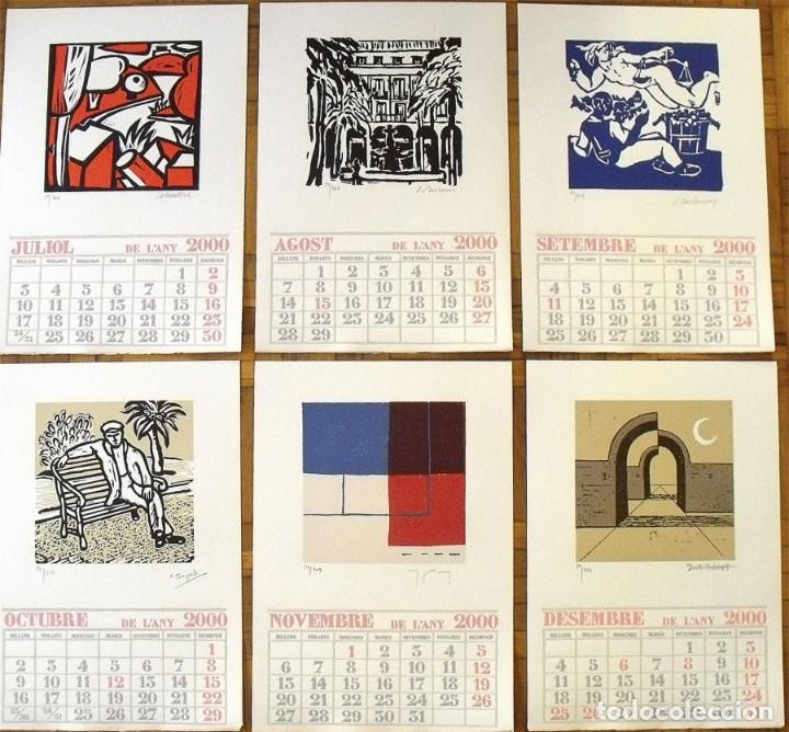 Arte: Calendario 2000 ilustrado artistas 12 linóleos: Cesc, Hernández PIjuan, Subirachs, Curós, Todó, Diví - Foto 2 - 133194622