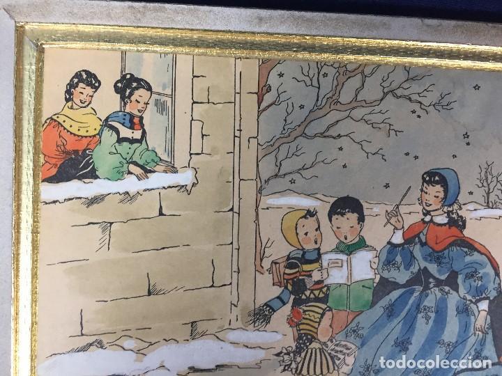 Arte: IMPRESION SOBRE PAPEL COLOREADA A MANO ESCENA NAVIDEÑA NIÑA NIÑOS REGALOS NIEVE CANTO FIRMA 1906 17, - Foto 2 - 133414626
