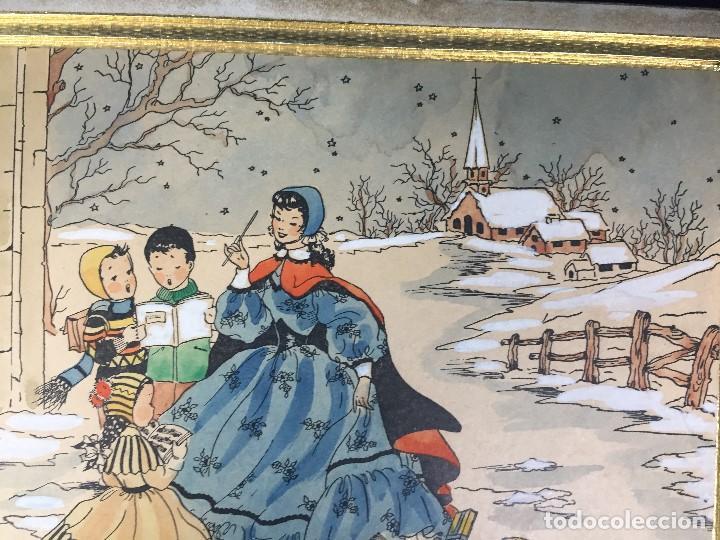 Arte: IMPRESION SOBRE PAPEL COLOREADA A MANO ESCENA NAVIDEÑA NIÑA NIÑOS REGALOS NIEVE CANTO FIRMA 1906 17, - Foto 3 - 133414626