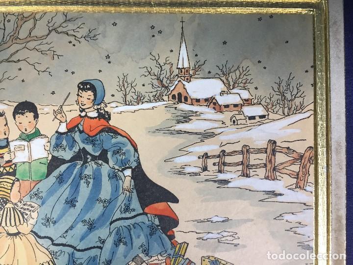 Arte: IMPRESION SOBRE PAPEL COLOREADA A MANO ESCENA NAVIDEÑA NIÑA NIÑOS REGALOS NIEVE CANTO FIRMA 1906 17, - Foto 5 - 133414626