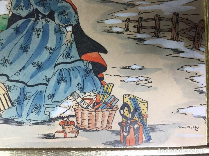Arte: IMPRESION SOBRE PAPEL COLOREADA A MANO ESCENA NAVIDEÑA NIÑA NIÑOS REGALOS NIEVE CANTO FIRMA 1906 17, - Foto 6 - 133414626