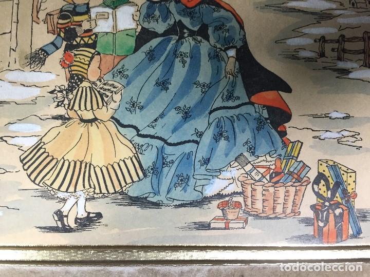 Arte: IMPRESION SOBRE PAPEL COLOREADA A MANO ESCENA NAVIDEÑA NIÑA NIÑOS REGALOS NIEVE CANTO FIRMA 1906 17, - Foto 7 - 133414626