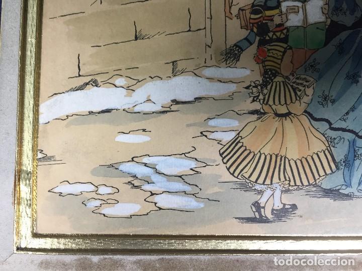 Arte: IMPRESION SOBRE PAPEL COLOREADA A MANO ESCENA NAVIDEÑA NIÑA NIÑOS REGALOS NIEVE CANTO FIRMA 1906 17, - Foto 8 - 133414626