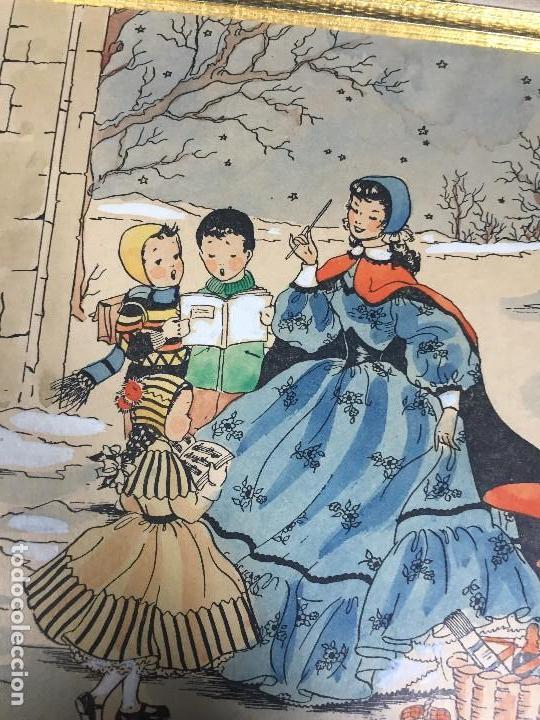 Arte: IMPRESION SOBRE PAPEL COLOREADA A MANO ESCENA NAVIDEÑA NIÑA NIÑOS REGALOS NIEVE CANTO FIRMA 1906 17, - Foto 9 - 133414626