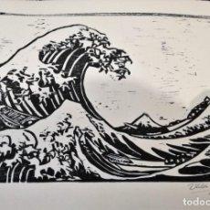 Arte: REPRODUCCIÓN XILOGRÁFICA LIBRE DE LA FAMOSA OBRA LA GRAN OLA DE KANAGAWA DE HOKUSAI. Lote 134638354