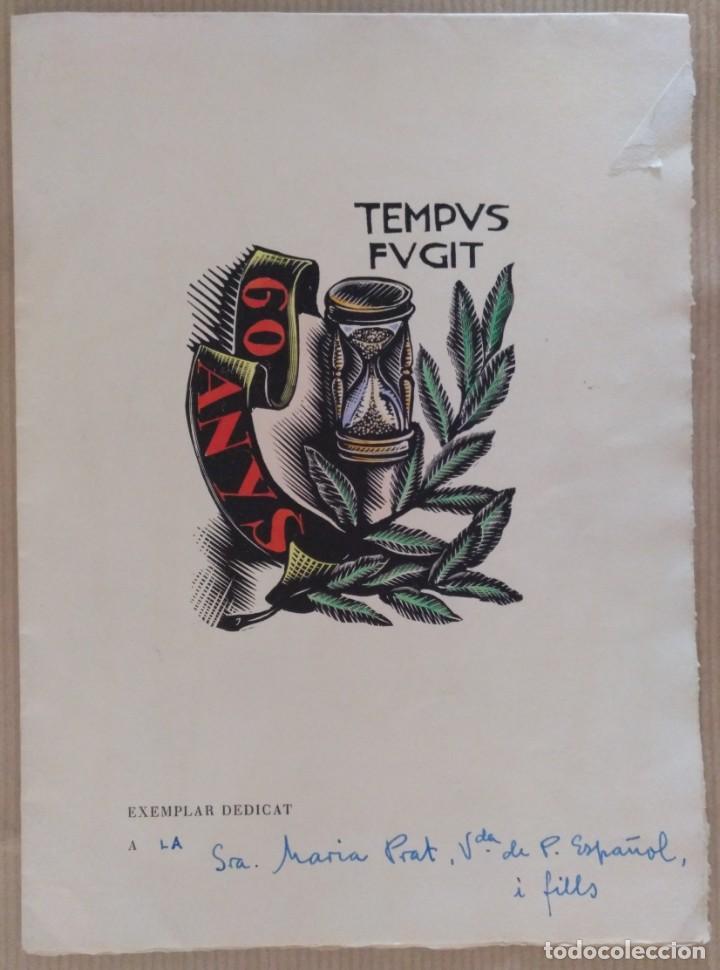 XILOGRAFIA ANTONI GELABERT PAPEL DE HILO MARCA GUARRO TEMPUS FUGIT 1961 (Arte - Xilografía)