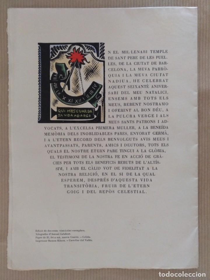 Arte: XILOGRAFIA ANTONI GELABERT PAPEL DE HILO MARCA GUARRO TEMPUS FUGIT 1961 - Foto 2 - 136367722