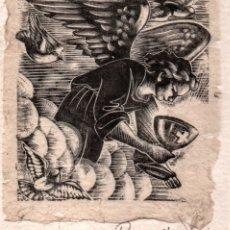Arte: XILOGRAFIA EN PROVE D'ASSAIG DE E. C. RICART. ANGEL CON CALIZ. Lote 139334442