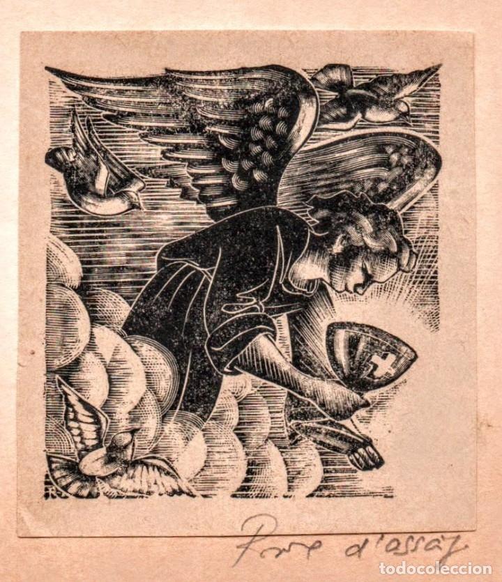XILOGRAFIA EN PROVE D'ASSAIG DE E. C. RICART. ANGEL CON CALIZ (Arte - Xilografía)