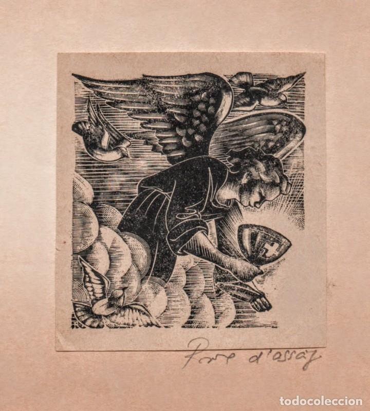 Arte: Xilografia en prove d'assaig de E. C. Ricart. Angel con Caliz - Foto 2 - 139336458