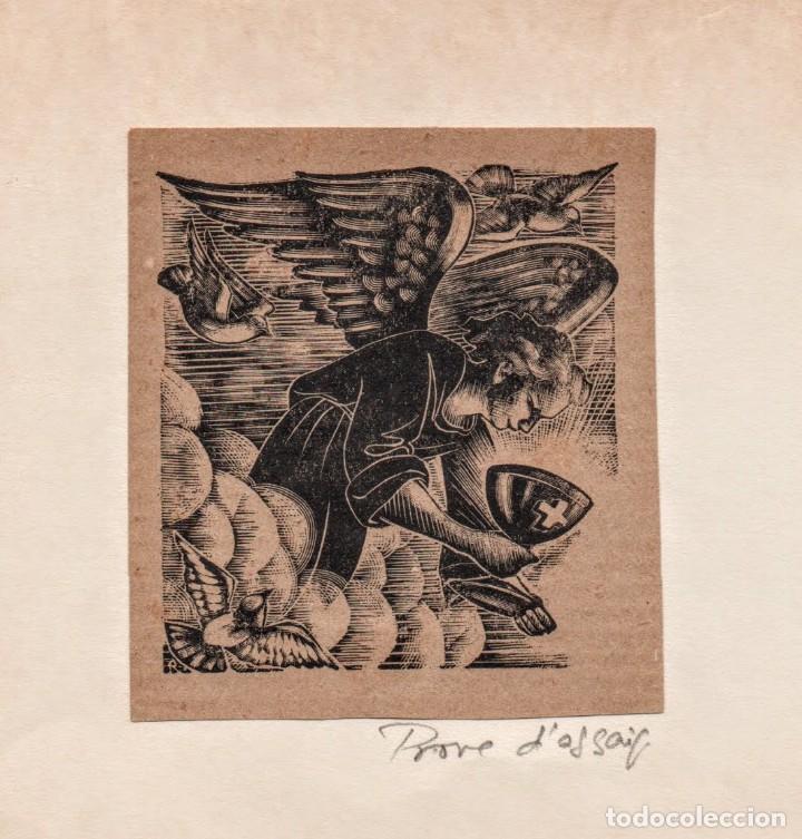 Arte: Xilografia en prove d'assaig de E. C. Ricart. Angel con Caliz - Foto 2 - 139342690
