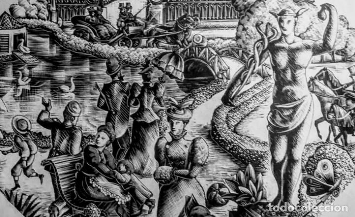 Arte: Xilografía original de E. C. Ricart de 1934 El parque de 1890 con la estatua de Mercurio - Foto 4 - 132535510