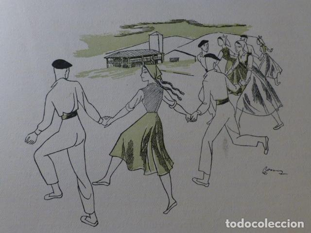 PAIS VASCO DANZA XILOGRAFIA AÑOS 40 (Arte - Xilografía)