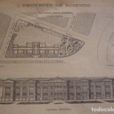 Art: PROYECTO INSTITUTO LIBRE DE ENSEÑANZA MADRID AÑO 1880. Lote 146060394