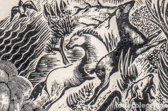 Arte: Xilografía original de Enric C Ricart Nin. Inédita. L'atlantida. 1952 - Foto 4 - 146612154