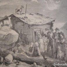 Arte: CHOZA DE PASTORES EN NORUEGA . AÑO 1880. Lote 147429394