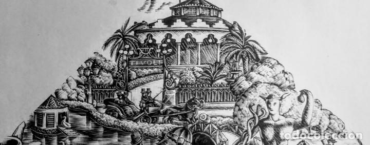 XILOGRAFÍA ORIGINAL DE E. C. RICART DE 1934 EL PARQUE DE 1890 CON LA ESTATUA DE MERCURIO (Arte - Xilografía)