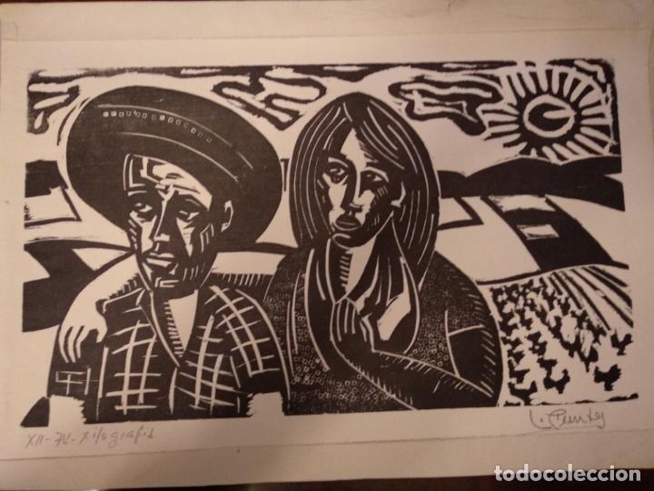 Arte: Xilografia 1974 firmada por l. ???? Luis - Foto 5 - 150545306