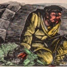 Arte: XILOGRAFIA DE E.C.RICART. PASTOR. PARA NADALA DE FINCAS MONTANÉ DE VILANOVA Y LA GELTRÚ. 1959. Lote 151168858