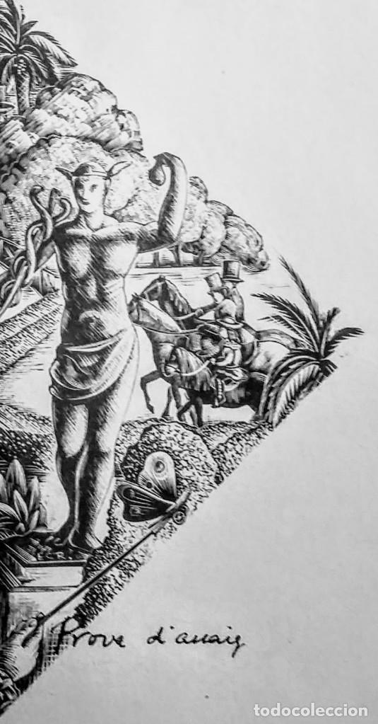 Arte: Xilografía original de E. C. Ricart de 1934 El parque de 1890 con la estatua de Mercurio - Foto 2 - 132535510