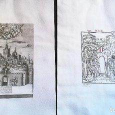 Arte: 2 LAMINAS -GRABADO DE PERSPECTIVA ESCENOGRÀFICA DE VALENCIA 1738 Y XILOGRAFÌA EL PORTAL DE SERRANOS . Lote 153143966