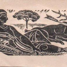 Arte: PEQUEÑA XILOGRAFÍA ORIGINAL EN PROVA D'ASSAIG DE E. C. RICART. DIANA. ESCENA DE CAZA.. Lote 153318998