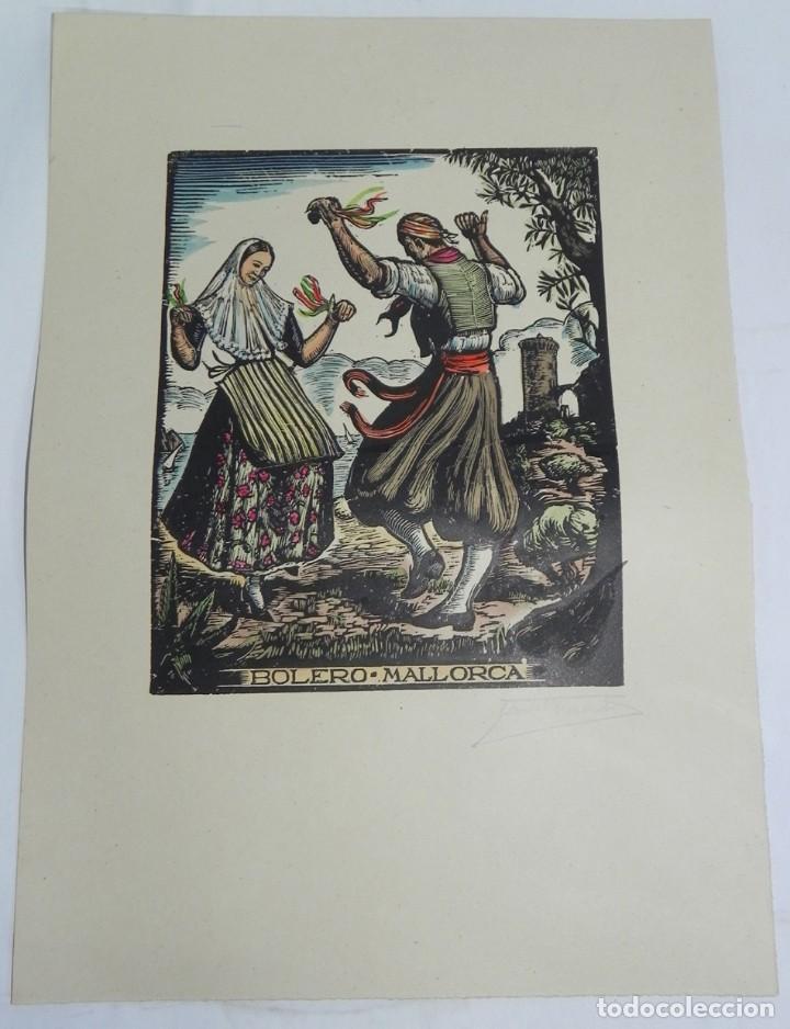 BOLERO, MALLORCA, XILOGRAFIA, DE JOAN CASTELLS I MARTÍ (1906 – 1980), FIRMADA, MIDE 35 X 28 CMS. APR (Arte - Xilografía)