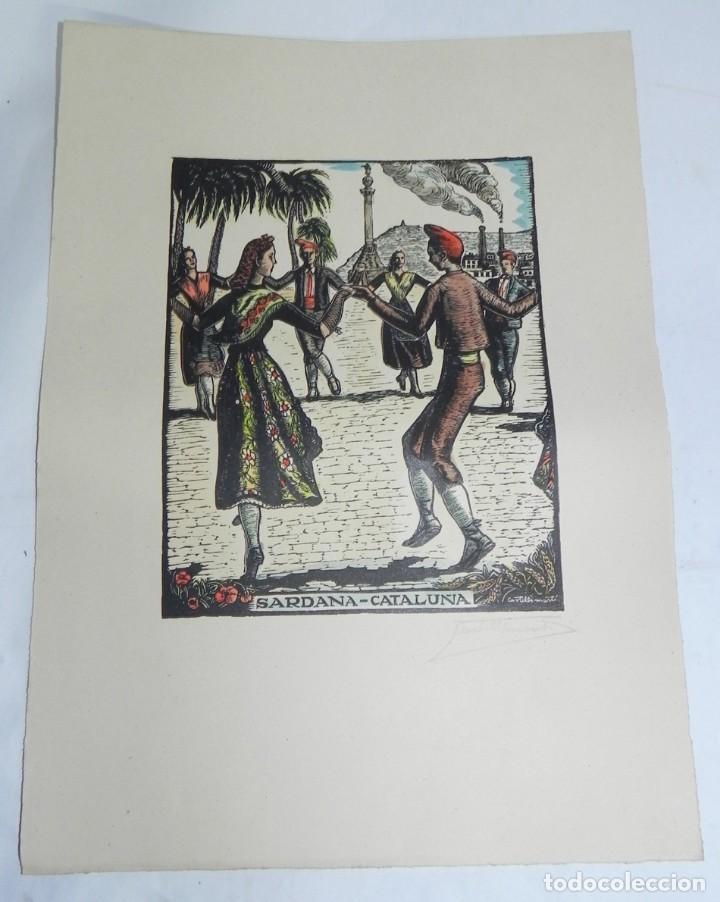 SARDANA, CATALUÑA, XILOGRAFIA, DE JOAN CASTELLS I MARTÍ (1906 – 1980), FIRMADA, MIDE 35 X 28 CMS. AP (Arte - Xilografía)