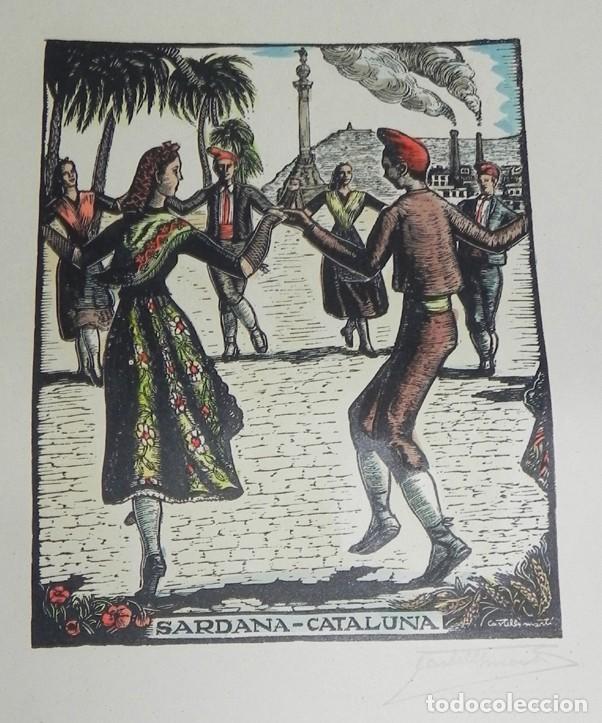 Arte: SARDANA, CATALUÑA, XILOGRAFIA, DE JOAN CASTELLS i MARTÍ (1906 – 1980), FIRMADA, MIDE 35 X 28 CMS. AP - Foto 2 - 159331926