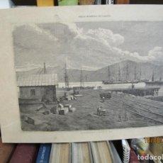 Arte: GRABADO XILOGRAFIA, NUEVO MUELLE MADERA DE VIGO, ILUSTRACION GALLEGO ASTURIANA 1880 + 1. Lote 164810354