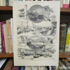 Arte: GRABADO XILOGRAFIA, VIGO VISTAS SEGUN DIBUJOS DE PRADILLA, ILUSTRACION GALLEGO ASTURIANA 1880 + 1. Lote 164811398