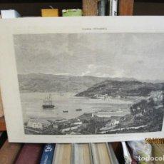 Arte: GRABADO XILOGRAFIA, VIGO VISTAS BAHIA Y MONTE DE LA GUIA, ILUSTRACION GALLEGO ASTURIANA ? 1880 + 1. Lote 164811698