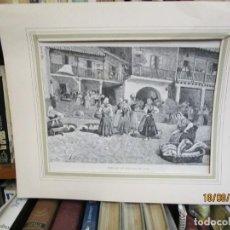 Arte: GRABADO XILOGRAFIA, MERCADO DE PESCADO EN VIGO BERBES, ILUSTRACION HISPANO AMERICANA1892 + 1. Lote 164812414