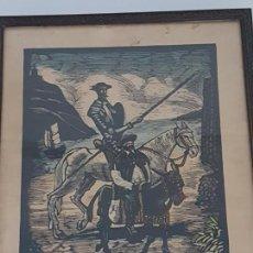 Arte: XILOGRAFIA SOBRE CARTULINA DON QUIJOTE A BARCELONA ( FIRMADO CASTELLS MARTÍ ). Lote 165048794