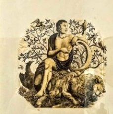 Arte: MAGNIFICA XILOGRAFÍA ORIGINAL DE ENRIC C. RICART. ORFEU/ORFEO. FIRMADA. ENMARCADA DE CALIDAD. Lote 167813472