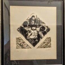 Arte: EXTRAORDINARIA XILOGRAFIA ORIGINAL DE ENRIC C. RICART. BENDICIÓN DEL PAN. FIRMADA. ENMARCADA. Lote 172139540