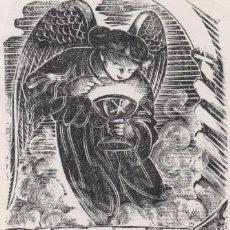 Arte: XILOGRAFÍA ORIGINAL EN PRUEBA DE ENSAYO DE ENRIC C RICART. EUCARISTÍA. CON TEXTO MARTA. Lote 172750070
